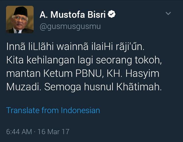 Ketum PBNU 1999-2009, KH Hasyim Muzadi Wafat